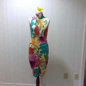 Flowered spandex fitted pencil dress